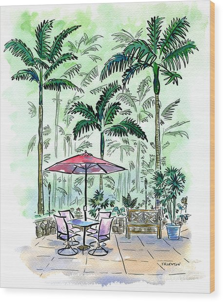On The Lanai Wood Print