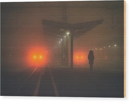 On The Platform Or At The Subway Station Wood Print by Matija Posavec