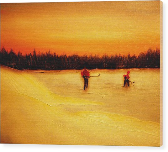 On The Pond With Dad Wood Print