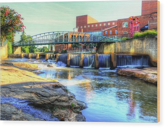 On The Reedy River In Greenville Wood Print
