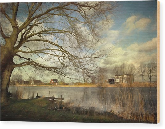 On The River Side Wood Print