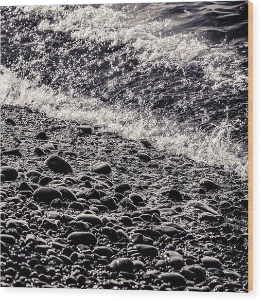 On The Rocks  French Beach Square Wood Print