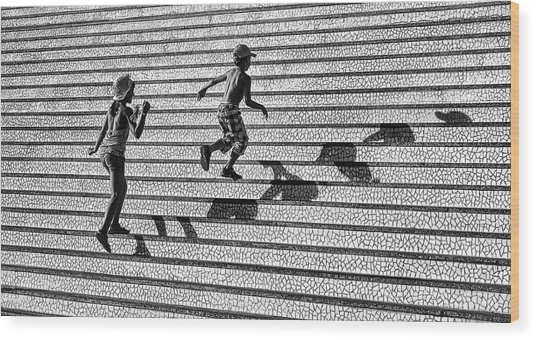 On The Stairs . Wood Print by Juan Luis Duran