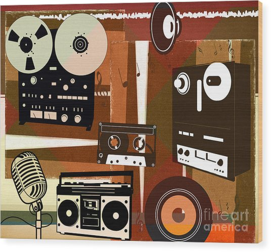 Once Upon Audio Wood Print by Peter Awax