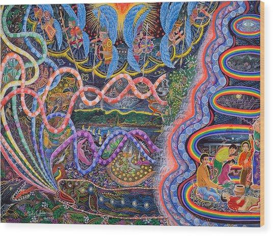 Wood Print featuring the painting Ondas De La Ayahuasca by Pablo Amaringo