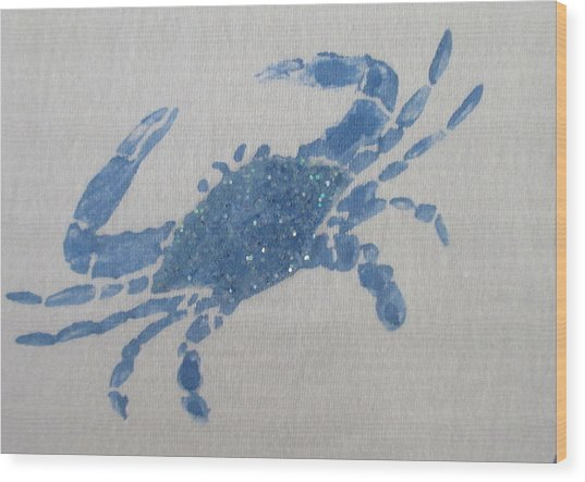 One Blue Crab On Sand Wood Print
