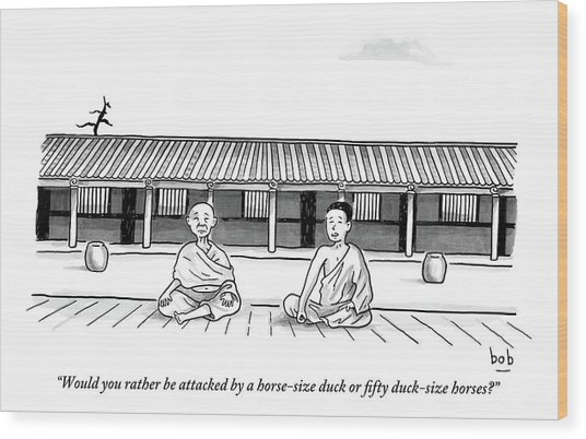 One Buddhist Monk Asks Another While Meditating Wood Print
