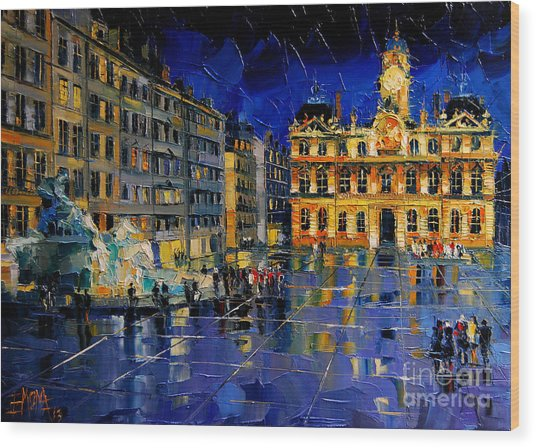 One Evening In Terreaux Square Lyon Wood Print