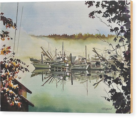 Gig Harbor Foggy Morning View Wood Print