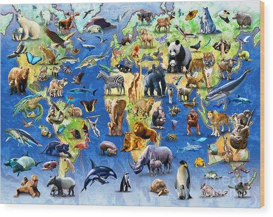 One Hundred Endangered Species Wood Print