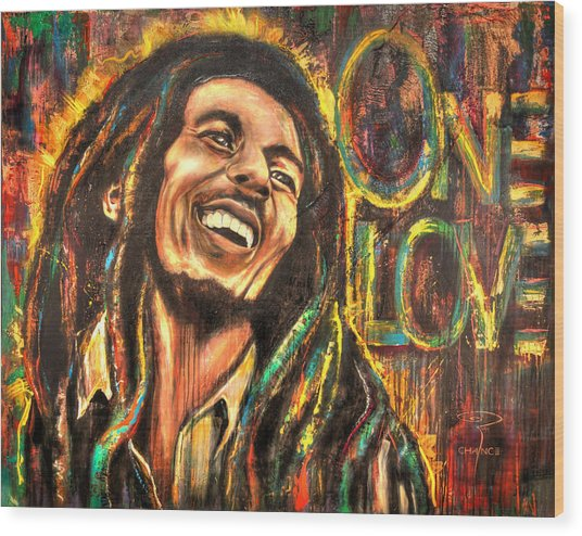 Bob Marley - One Love Wood Print