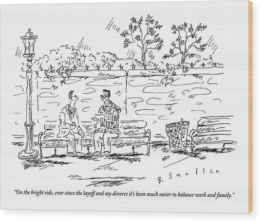 One Man To Another On A Park Bench Wood Print