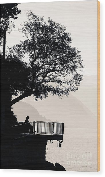One Old Man Sitting In Shade Of Tree Overlooking Lake Como Wood Print
