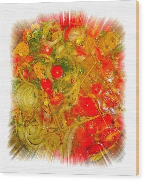 One Pan Pasta Cooking Wood Print