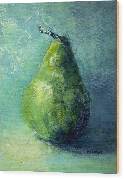 One Pear Wood Print by Bob Pennycook