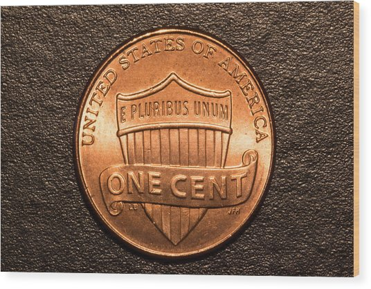 One Red Cent Wood Print by S Cass Alston