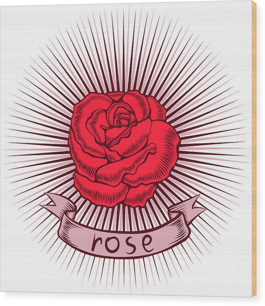 One Red Rose With Thorns On White Wood Print
