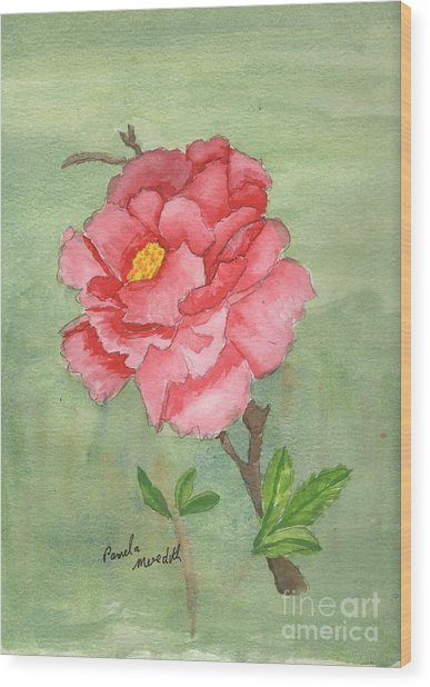 One Rose Wood Print
