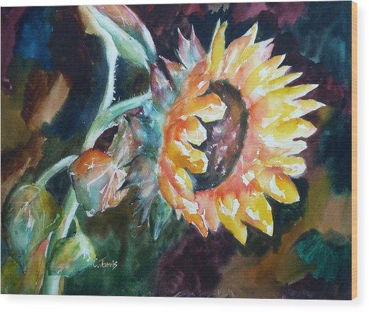 One Sunflower Wood Print