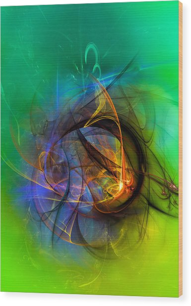 Colorful Digital Abstract Art - One Warm Feeling Wood Print
