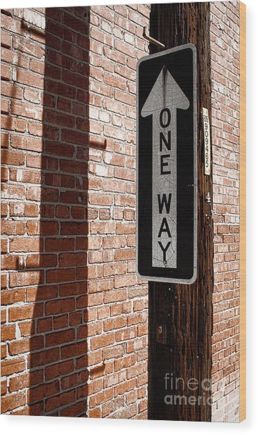One Way Wood Print