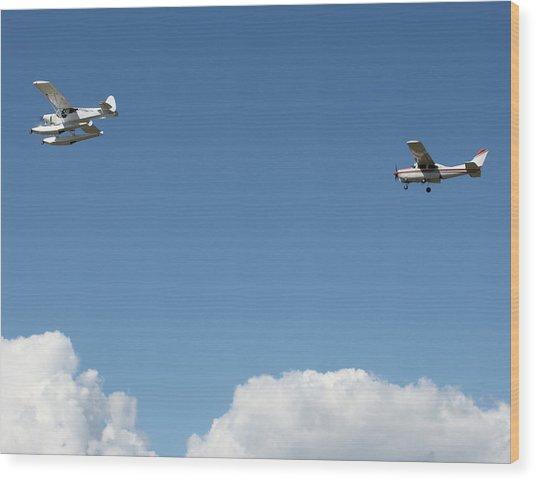 Ongoing Flight  Wood Print by Mavis Reid Nugent