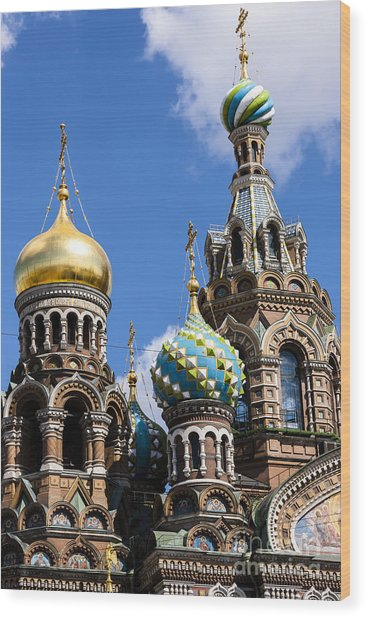 Onion Domes Church Of Spilled Blood Wood Print
