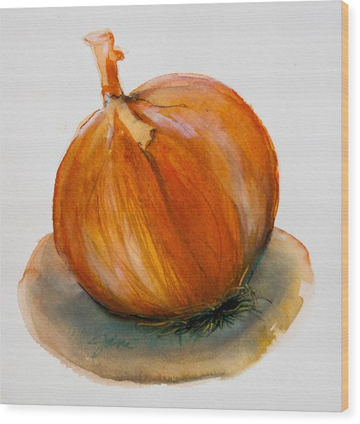 Wood Print featuring the painting Onion Study by Jani Freimann