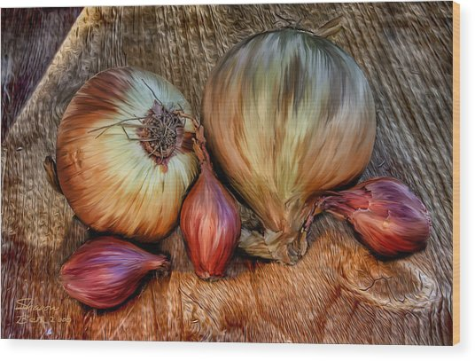 Onions And Scallions Wood Print