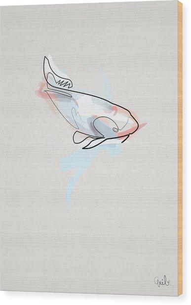oneline Fish Koi Wood Print by Quibe Sarl