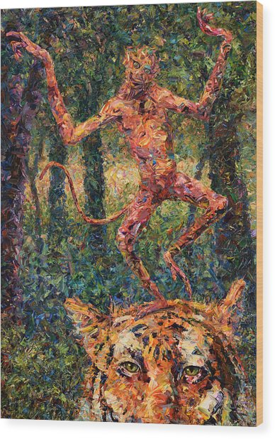 Only A Crazy Monkey Dances On A Tiger's Head Wood Print