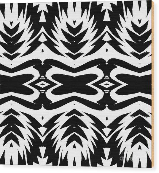 Pattern Black White No.232. Wood Print by Drinka Mercep