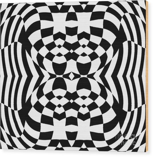 Op Art Geometric Pattern Black White Print No.230. Wood Print by Drinka Mercep