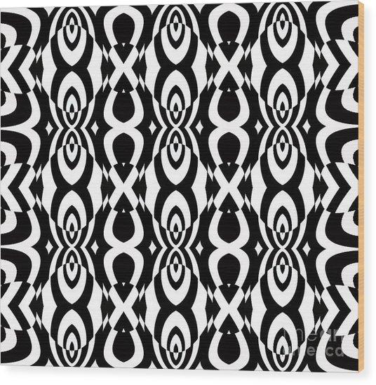 Op Art Pattern Geometric Black White Art No.338. Wood Print by Drinka Mercep