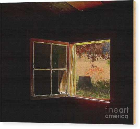 Open Cabin Window II Wood Print by Julie Dant