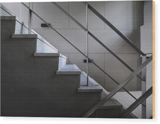 Open Stairwell In A Modern Building Wood Print by Primeimages