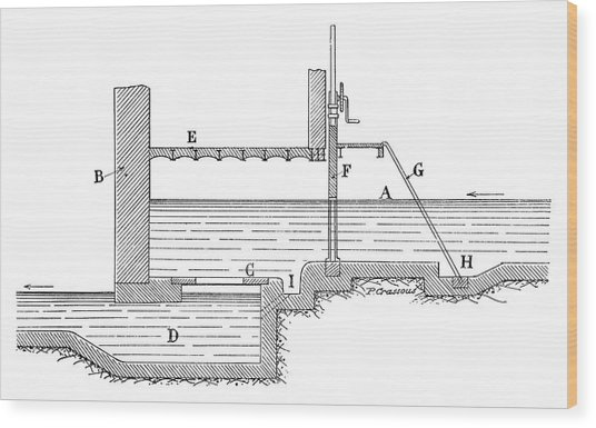 Open Turbine Water Flow Wood Print by Science Photo Library