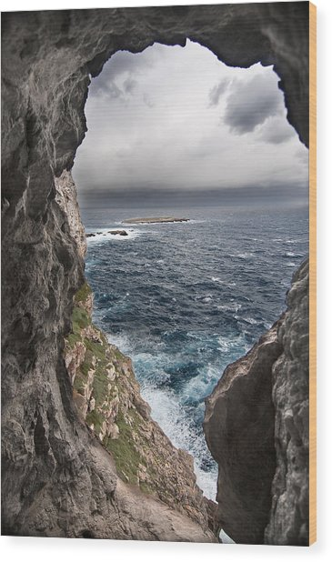 A Natural Window In Minorca North Coast Discover Us An Impressive View Of Sea And Sky - Open Window Wood Print