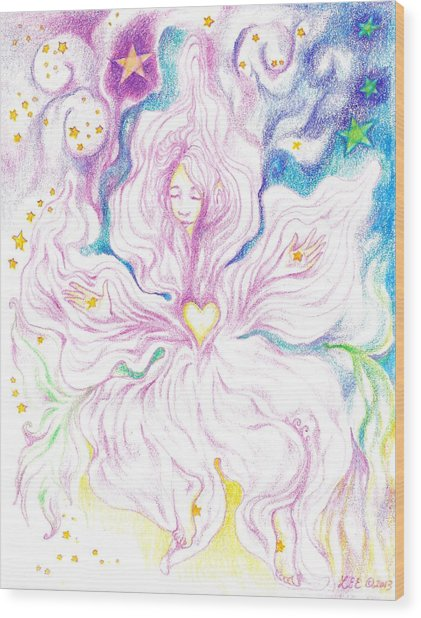 Opening And Blossoming   Dreaming The World Into Being   As She Dances In The Stars Wood Print