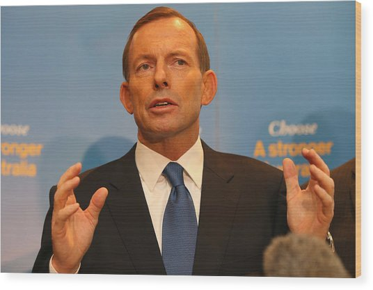 Opposition Leader Tony Abbott Unveils Coalition Border Protection Policy Wood Print by Chris Hyde