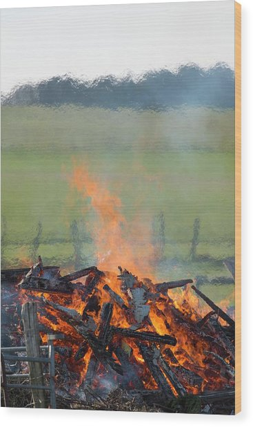 Optical Distortion From A Bonfire. Wood Print