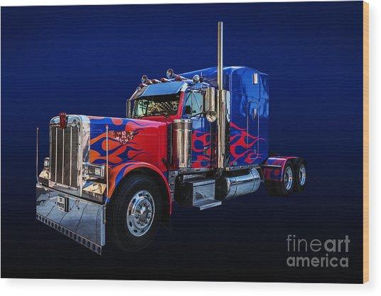 Optimus Prime Blue Wood Print