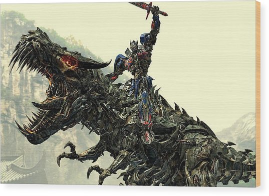 Optimus Prime Riding Grimlock Wood Print
