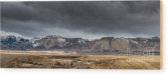 Oquirrh Mountains Winter Storm Panorama 2 - Utah Wood Print