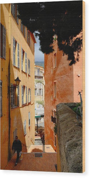 Orange Alley Wood Print