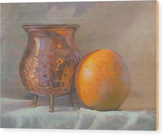 Orange And Copper Wood Print by Peter Orrock