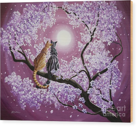 Orange And Gray Tabby Cats In Cherry Blossoms Wood Print