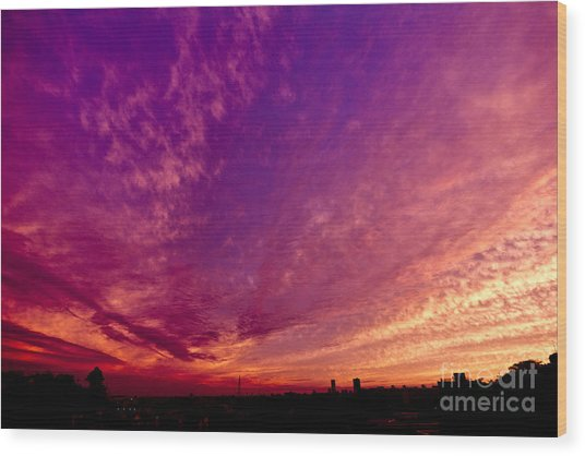 Orange And Purple Clouds Sunset View From The Balcony Wood Print