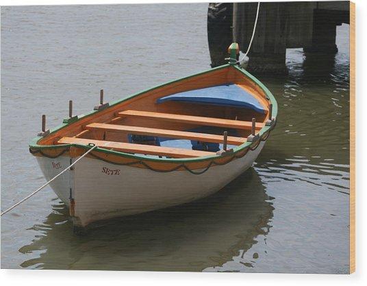 Orange And White  Boat  Wood Print