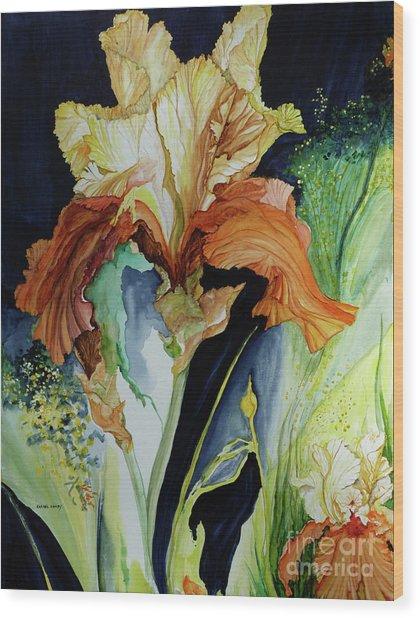 Orange And Yellow Iris Wood Print